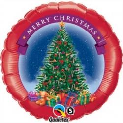 Globo Árbol Navidad Redondo rojo foil