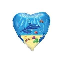 Globo corazón delfines foil