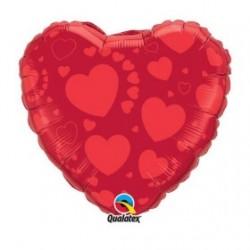 """Globo Corazón con corazones 18"""""""