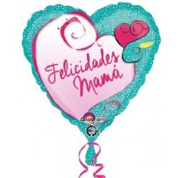Globo Felicidades Mamá Puntos foil