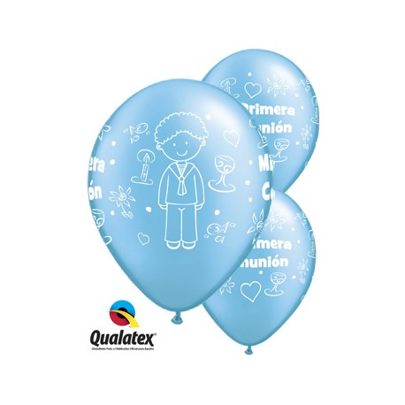 """Globos comunión azul niño 11""""-28cm Qualatex"""