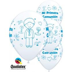 "Globos comunión blanco niño 11""-28cm Qualatex"