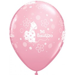 "Globos bautizo rosa 11""-28cm Qualatex"