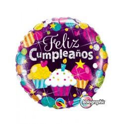 Globo Feliz Cumpleaños CUPCAKE Qualatex