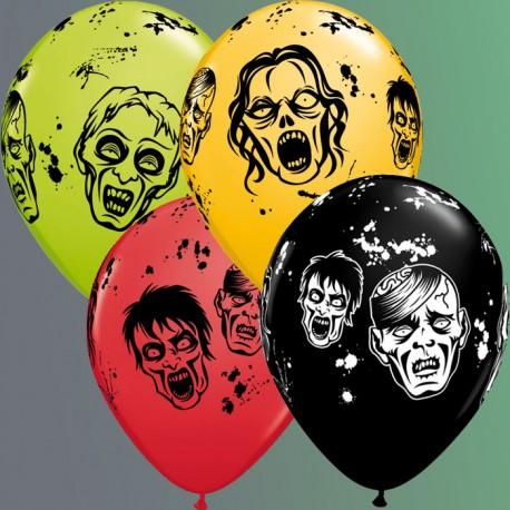 "Globos Halloween zombies 11""-28cm Qualatex"