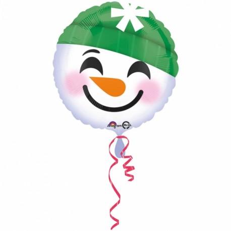 Globo emoticono muñeco nieve 45cm foil