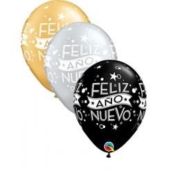 "Globos Feliz Año Nuevo 11""-28cm Qualatex (6U)"