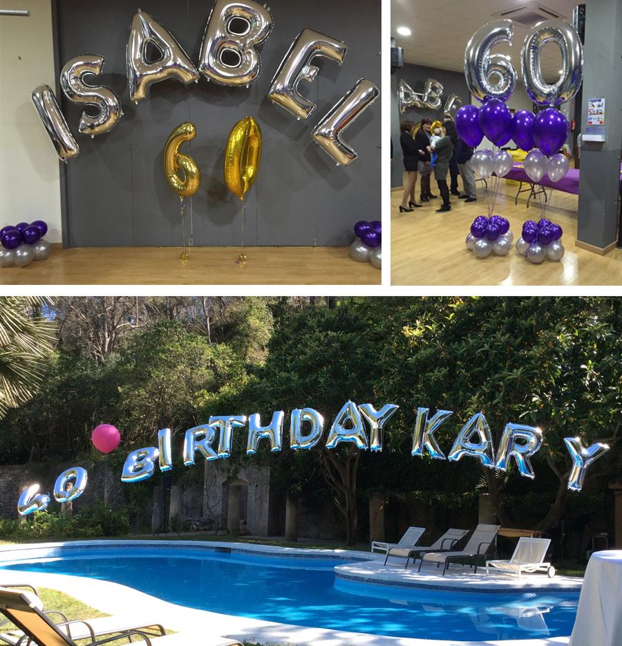 decoraciones con globos de letras