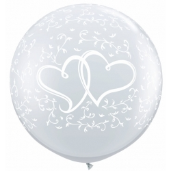 Globos corazones enlazados 3'-90cm Qualatex