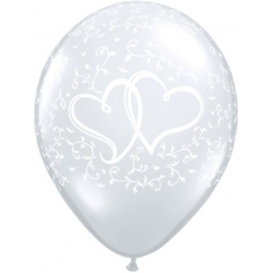 "Globos corazones enlazados 11""-28cm Qualatex"