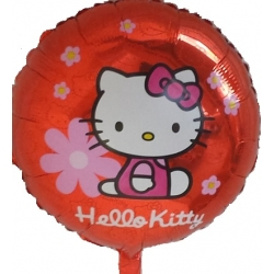 Globo Hello Kitty flores rojo foil