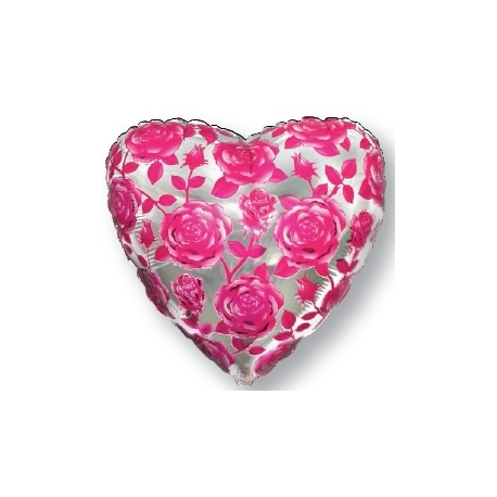 """Globo Corazón Rosas 18""""-45cm foil"""