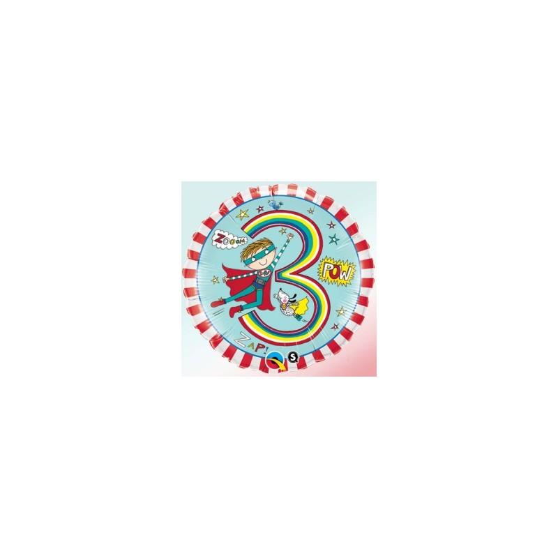 Globo 3 años Rachel Heroe foil