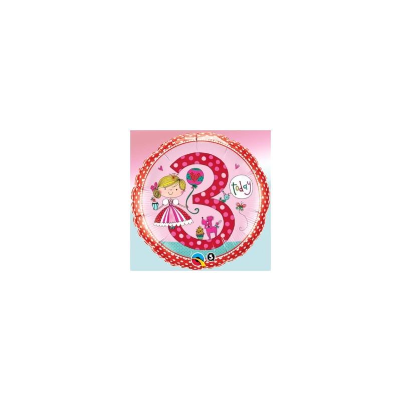 Globo 3 años Rachel Princesa foil