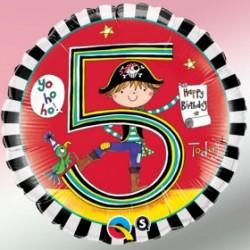 Globo 5 años Rachel Pirata foil