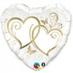 Globo corazones enlazados 45cm foil