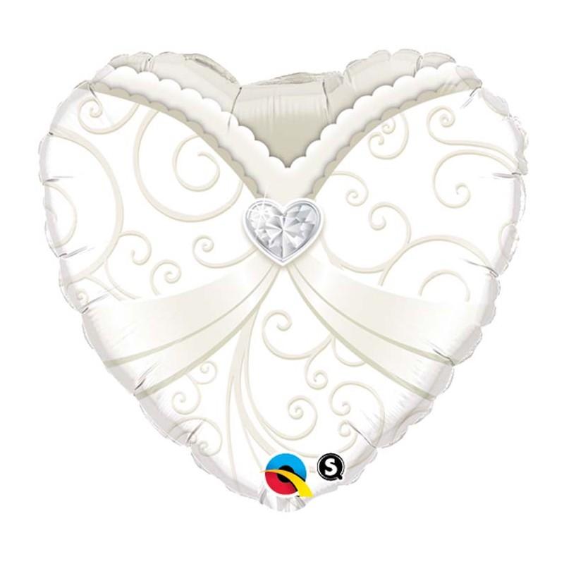 Globo corazon TRAJE NOVIA 45cm foil
