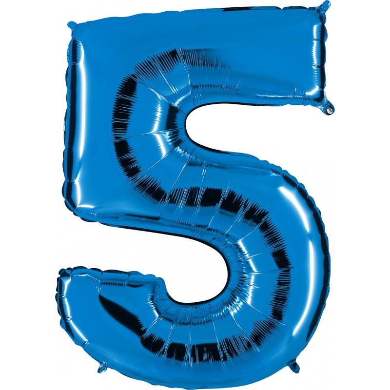 globo del número 5 de foil de 90cm en globos con forma de números