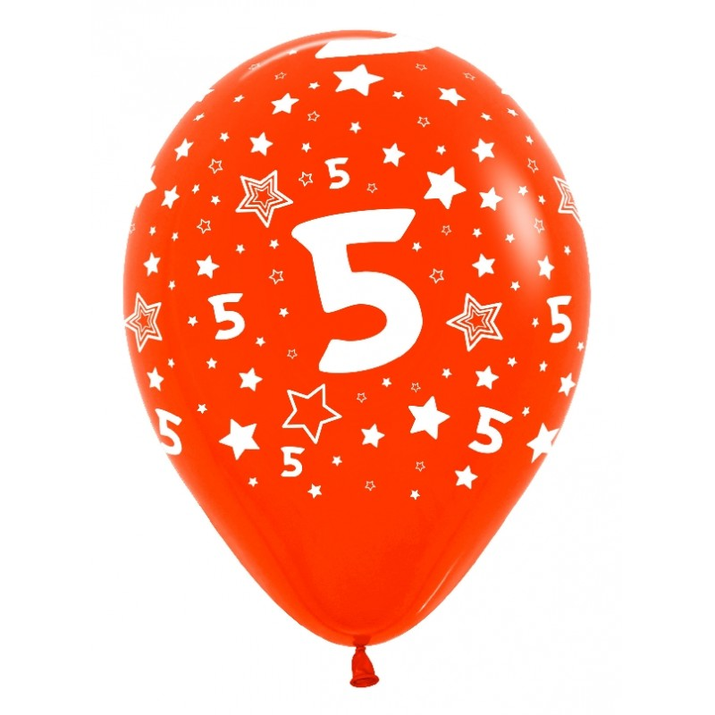 """Globos Número 5 12""""-30cm Sempertex"""