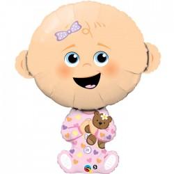 Globo bebe niña osito foil