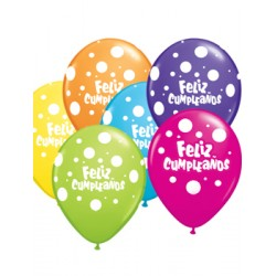 "Globos feliz cumple topos 11""-28cm Qualatex"