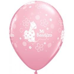 "Globos Bautizo rosa 11""-28cm Qualatex"