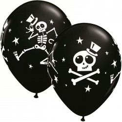 "Globos Halloween esqueletos 11""-28cm  Qualatex"