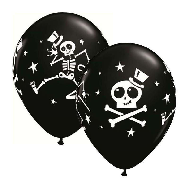 """Globos Halloween esqueletos 11""""-28cm  Qualatex"""