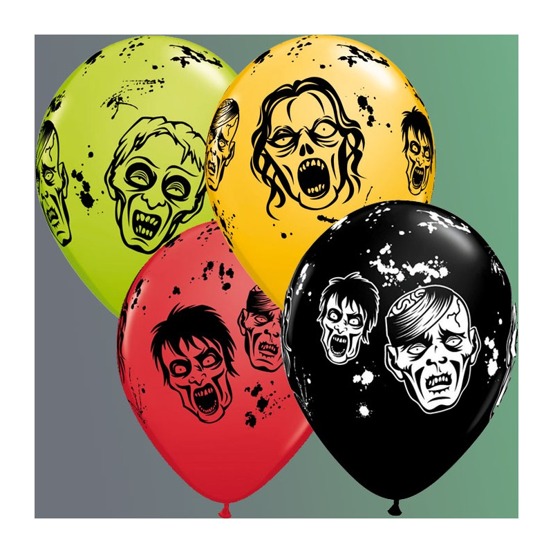 "Globos Halloween zombies 11""-28cm  Qualatex"