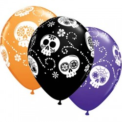 "Globos Halloween calaveras mex 11""-28cm Qualatex"