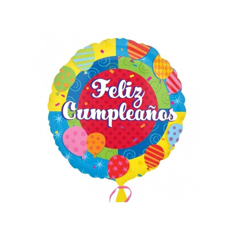 """Globo Feliz Cumpleaños palito 9""""-23cm"""
