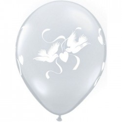 "Globos palomas amor 11""-28cm Qualatex"