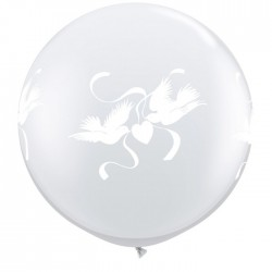 Globos palomas amor 3'-90cm Qualatex