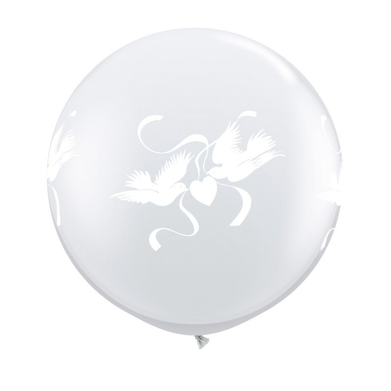 Globos palomas  3'-90cm Qualatex