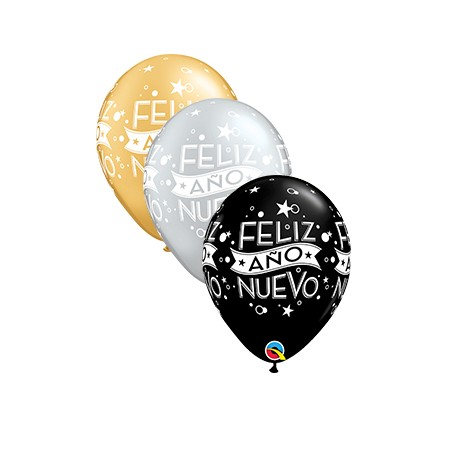 "Globos Feliz Año Nuevo 11""-28cm Qualatex"