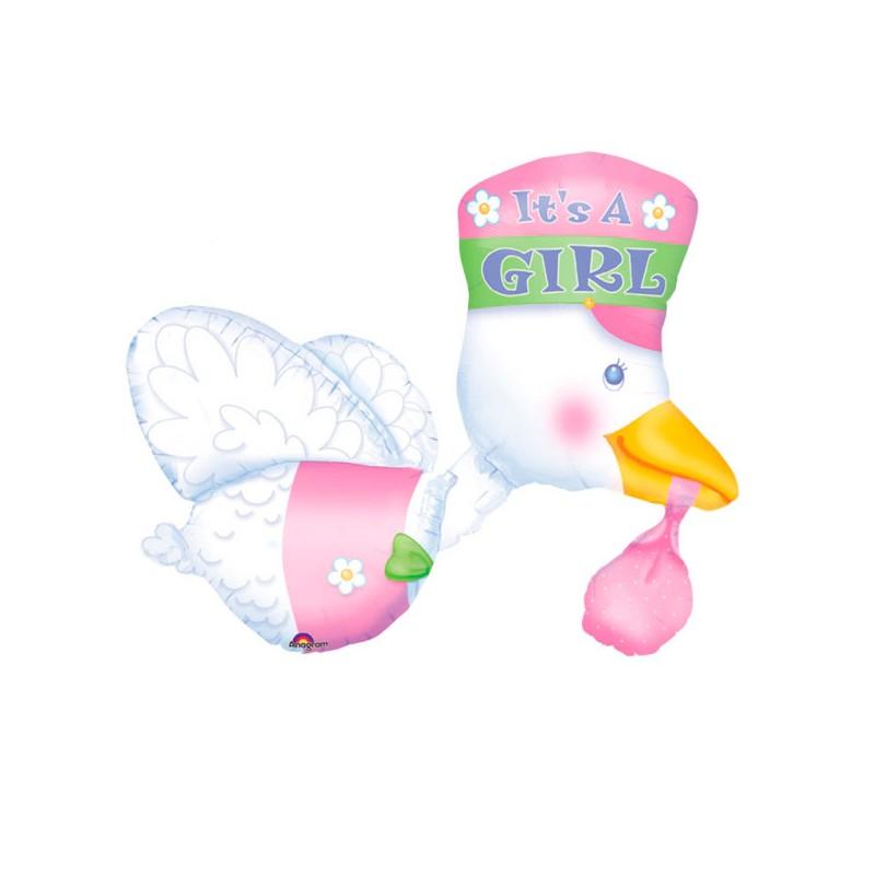 Globo cigüeña rosa foil