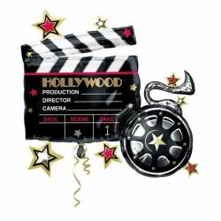 Globo cine claqueta forma foil