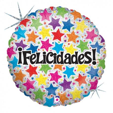 """Globo Felicidades Estrellas 18""""-45cm"""