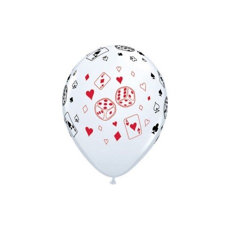 "Globos casino cartas y dados 11""-28cm Qualatex"
