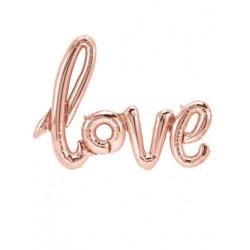 GLOBO LETRAS LOVE rosa oro foil