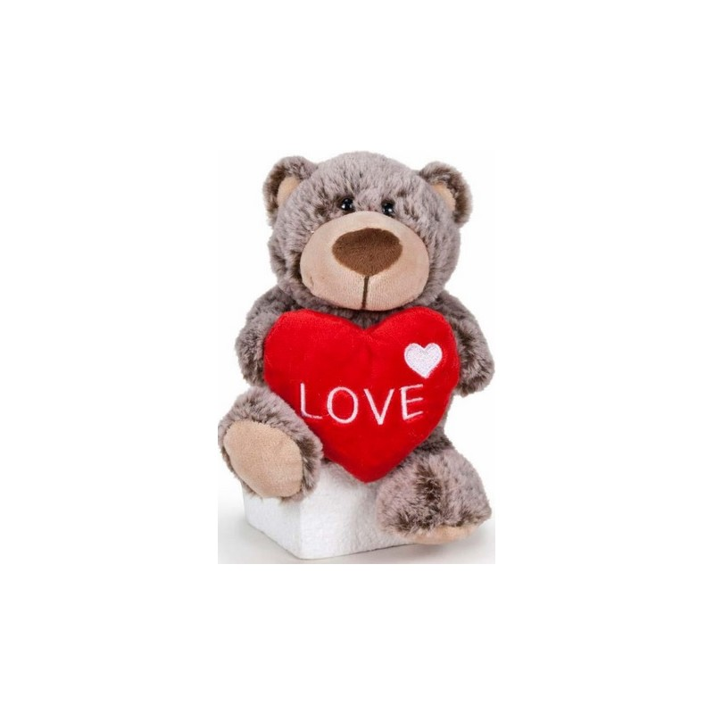 Peluche Osito corazón marrón 22cm