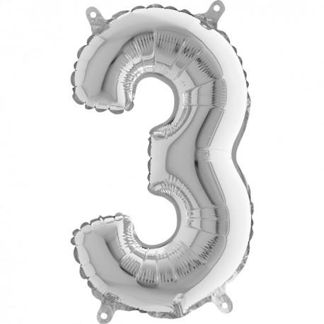Globo Número 3 de foil TG 36cm