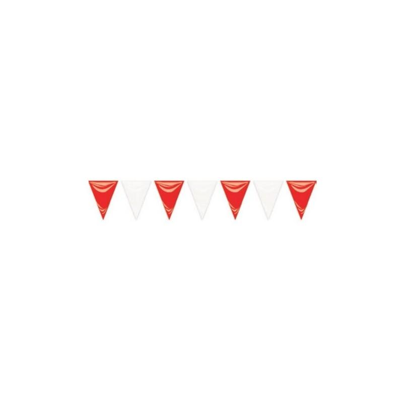 Guirnalda triángulos 50m rojo y blanco