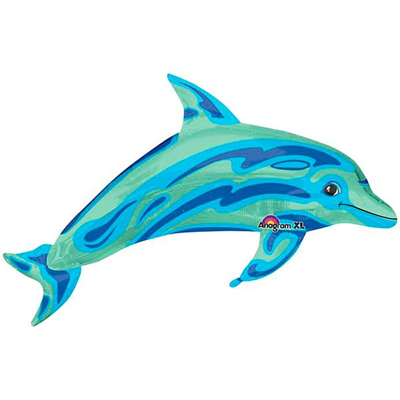Globo con palito delf/ín azul Anagram