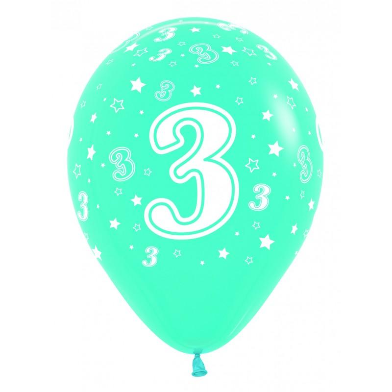 """Globos Número 3 12""""-30cm Sempertex"""