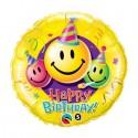 "Globo Happy Birthday sonrisas 18""-45cm Qualatex"