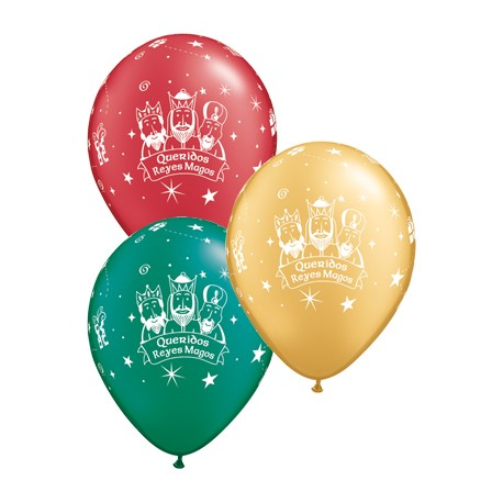 "Globos Reyes Magos 11""-28cm Qualatex"