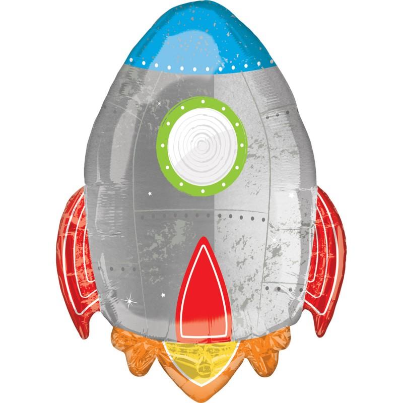 Globo Cohete Gris de foil