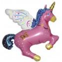 Globo Unicornio forma rosa Foil