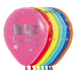 """Globos Feliz Cumple plata 12""""-30cm Sempertex"""
